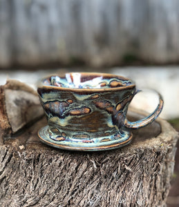 Geyser Eruption - Drippy Glaze Personal Pour Over Coffee Dripper - Hsiaowan Studios Handmade Ceramics Pottery