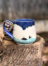 Load image into Gallery viewer, Ocean Series N°. 9 - Handmade Ceramic Mug with Hand-painted  & carved Whale and ocean - Hsiaowan Studios Handmade Ceramics Pottery