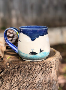 Ocean Series N°. 9 - Handmade Ceramic Mug with Hand-painted  & carved Whale and ocean - Hsiaowan Studios Handmade Ceramics Pottery