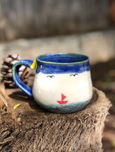 Load image into Gallery viewer, Ocean Series N°. 10 - Smiley Sailing Handmade Ceramic Mug 12 oz Hsiaowan Studios - Hsiaowan Studios Handmade Ceramics Pottery