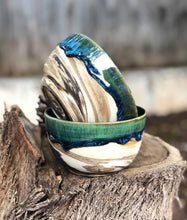Load image into Gallery viewer, Planetary Series N°. 10- Marbled Clay Drippy Glaze Crackle Trinket Bowl - Hsiaowan Studios Handmade Ceramics Pottery