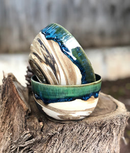 Planetary Series N°. 10- Marbled Clay Drippy Glaze Crackle Trinket Bowl - Hsiaowan Studios Handmade Ceramics Pottery