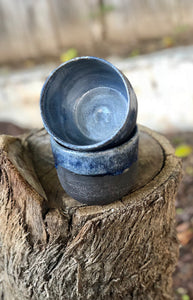 Everyday Mug in Dark Chocolate Clay with Drippy Blue glaze 11 oz - Hsiaowan Studios Handmade Ceramics Pottery