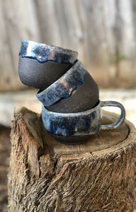 Everyday Latte Mug in Dark Chocolate Clay with Drippy Blue glaze 11 oz - Hsiaowan Studios Handmade Ceramics Pottery