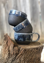 Load image into Gallery viewer, Everyday Mug in Dark Chocolate Clay with Drippy Blue glaze 11 oz - Hsiaowan Studios Handmade Ceramics Pottery