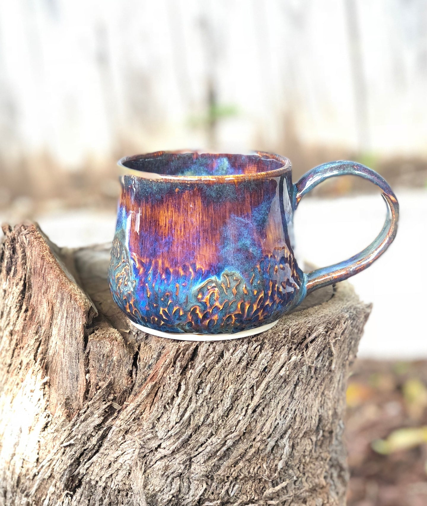 Faceted Aurora borealis - Drippy Purple Coffee Mug 18 oz - Hsiaowan Studios Handmade Ceramics Pottery