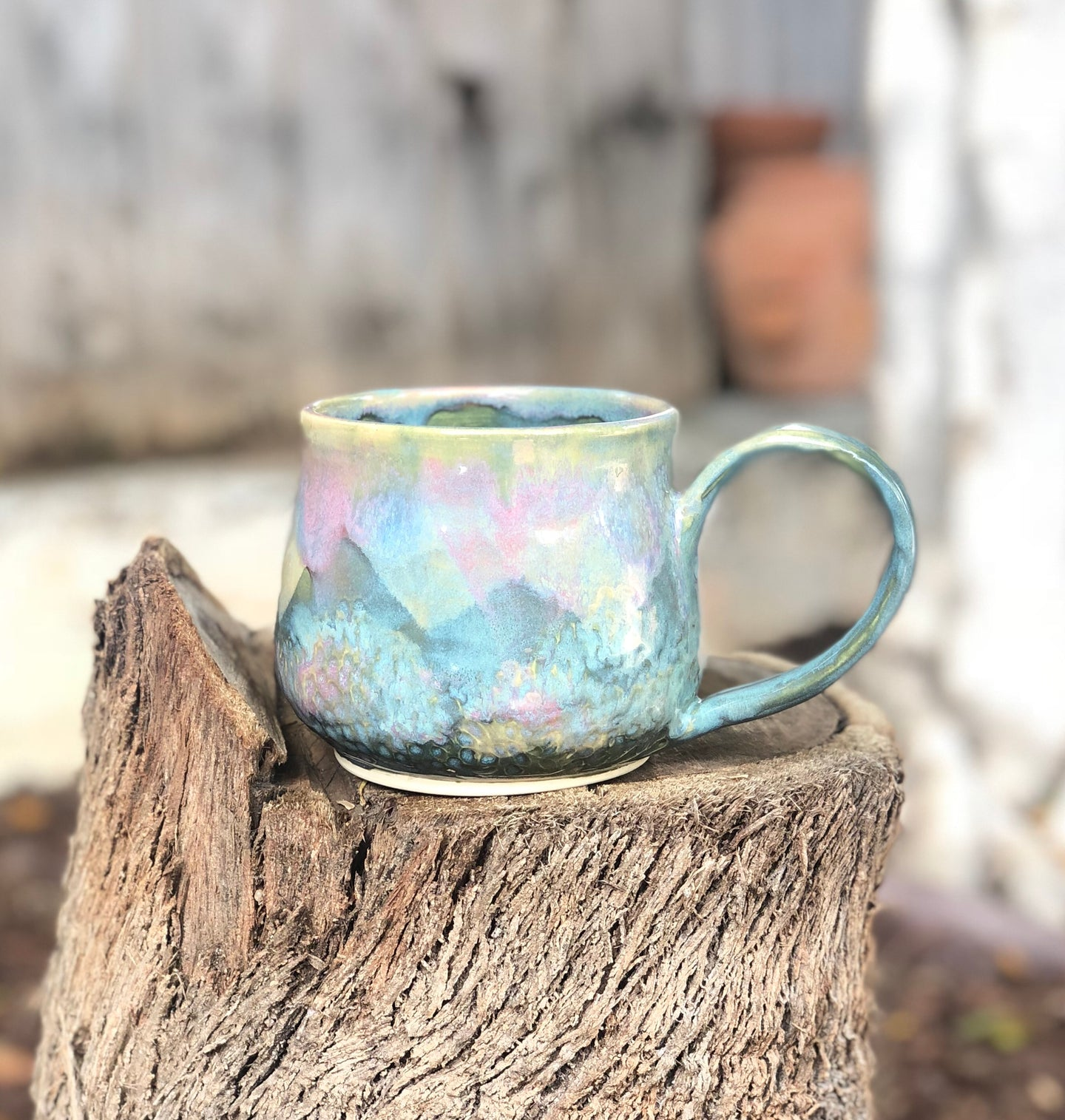 Large Pink Blue Opal Mug - Dreamy Soft Multi Color Ceramic Mug 20 oz - Hsiaowan Studios Handmade Ceramics Pottery