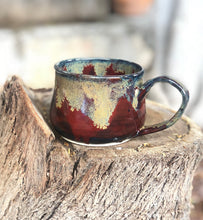 Load image into Gallery viewer, Golden Snow - Ceramic Coffee Mug and Plate Set 12 oz - Hsiaowan Studios Handmade Ceramics Pottery