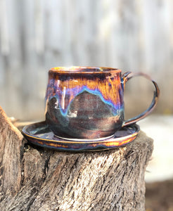 Aurora borealis - Drippy Purple Ceramic Mug and Plate Set 12 oz - Hsiaowan Studios Handmade Ceramics Pottery
