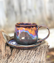 Load image into Gallery viewer, Aurora borealis - Drippy Purple Ceramic Mug and Plate Set 12 oz - Hsiaowan Studios Handmade Ceramics Pottery