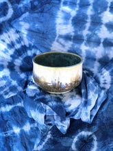 Load image into Gallery viewer, Cloudy Forest - Chawan Matcha Tea bowl  & Indigo Shibori Tea towel set 12 oz - Hsiaowan Studios Handmade Ceramics Pottery