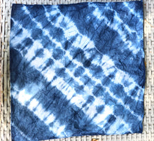 Load image into Gallery viewer, Indigo Shibori Tie Dye Organic Cotton Tea Towel / Napkin - Hsiaowan Studios Handmade Ceramics Pottery