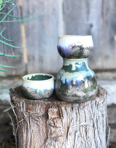 Cloudy Forest Sake Bottle and Cup Set - Hsiaowan Studios Handmade Ceramics Pottery
