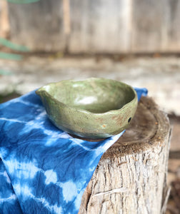 Spouted Chawan Matcha Tea bowl  & Indigo Shibori Tea towel set 9 oz / Egg bowl - Hsiaowan Studios Handmade Ceramics Pottery