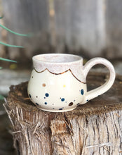 Load image into Gallery viewer, Real Gold Luster Blue Polka Dots Ceramic Coffee Mug 10 oz - Hsiaowan Studios Handmade Ceramics Pottery