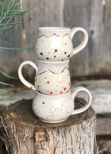 Real Gold Luster Creamy Speckle Polka Dots Ceramic Coffee Mug 11 oz - Hsiaowan Studios Handmade Ceramics Pottery