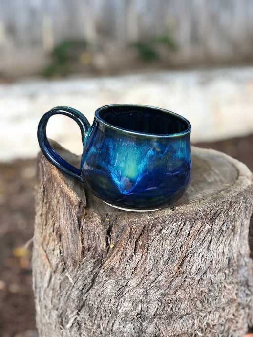 Drippy Teal Blue Ceramic Mug 12 oz - Hsiaowan Studios Handmade Ceramics Pottery