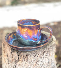 Load image into Gallery viewer, Aurora borealis - Breakfast Set Drippy Purple Ceramic Mug and Plate Set 13 oz - Hsiaowan Studios Handmade Ceramics Pottery