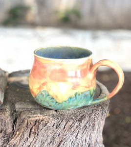 Sunset over the mountain Hand carved  12 oz - Hsiaowan Studios Handmade Ceramics Pottery