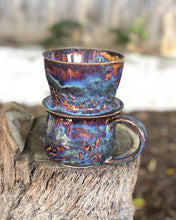 Load image into Gallery viewer, SALE! Drippy Aurora Personal Coffee Dripper and Coffee Mug Set 12 oz - Hsiaowan Studios Handmade Ceramics Pottery