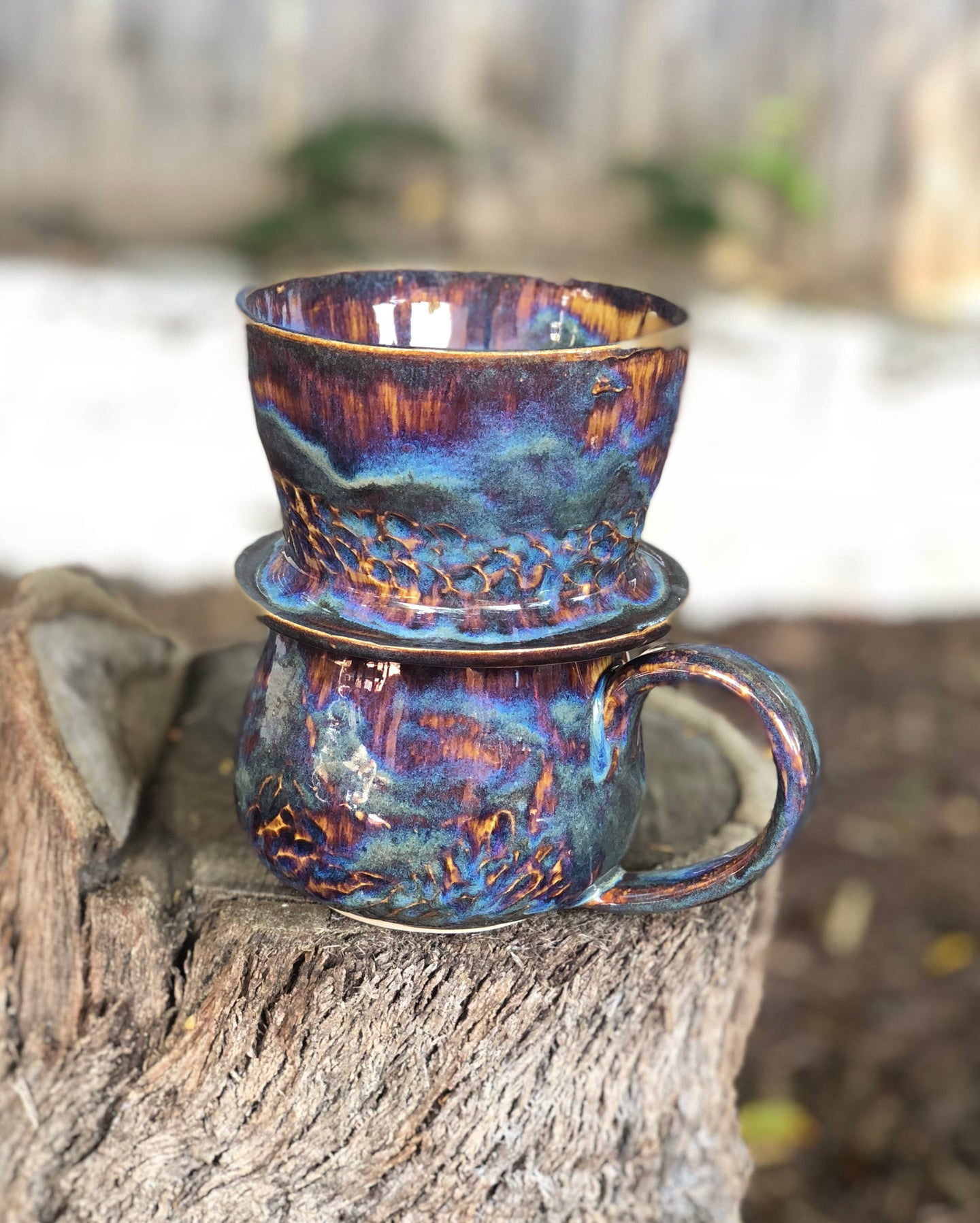 SALE! Drippy Aurora Personal Coffee Dripper and Coffee Mug Set 12 oz - Hsiaowan Studios Handmade Ceramics Pottery