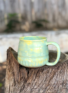 Summer Melon Ceramic Coffee Mug Hand Carved texture  14 oz - Hsiaowan Studios Handmade Ceramics Pottery