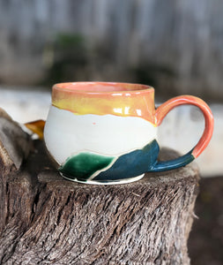 Landscape Mountain Mug under Sunset  14 oz - Hsiaowan Studios Handmade Ceramics Pottery