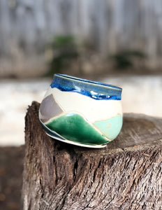 Landscape Mountain Mug under Drippy Blue Sky  12 oz - Hsiaowan Studios Handmade Ceramics Pottery