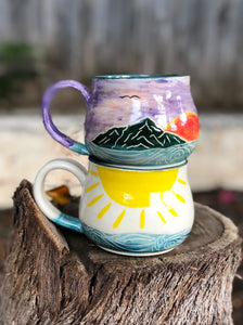 Ocean Series N°. 12 - Handmade Ceramic Mug with Hand-painted Hand carved Sun and Ocean - Hsiaowan Studios Handmade Ceramics Pottery