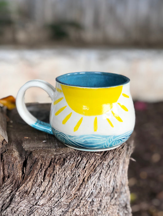 Series N°. 12 - Handmade Ceramic Mug with Hand-painted Hand carved Sun and Ocean - Hsiaowan Studios Handmade Ceramics Pottery