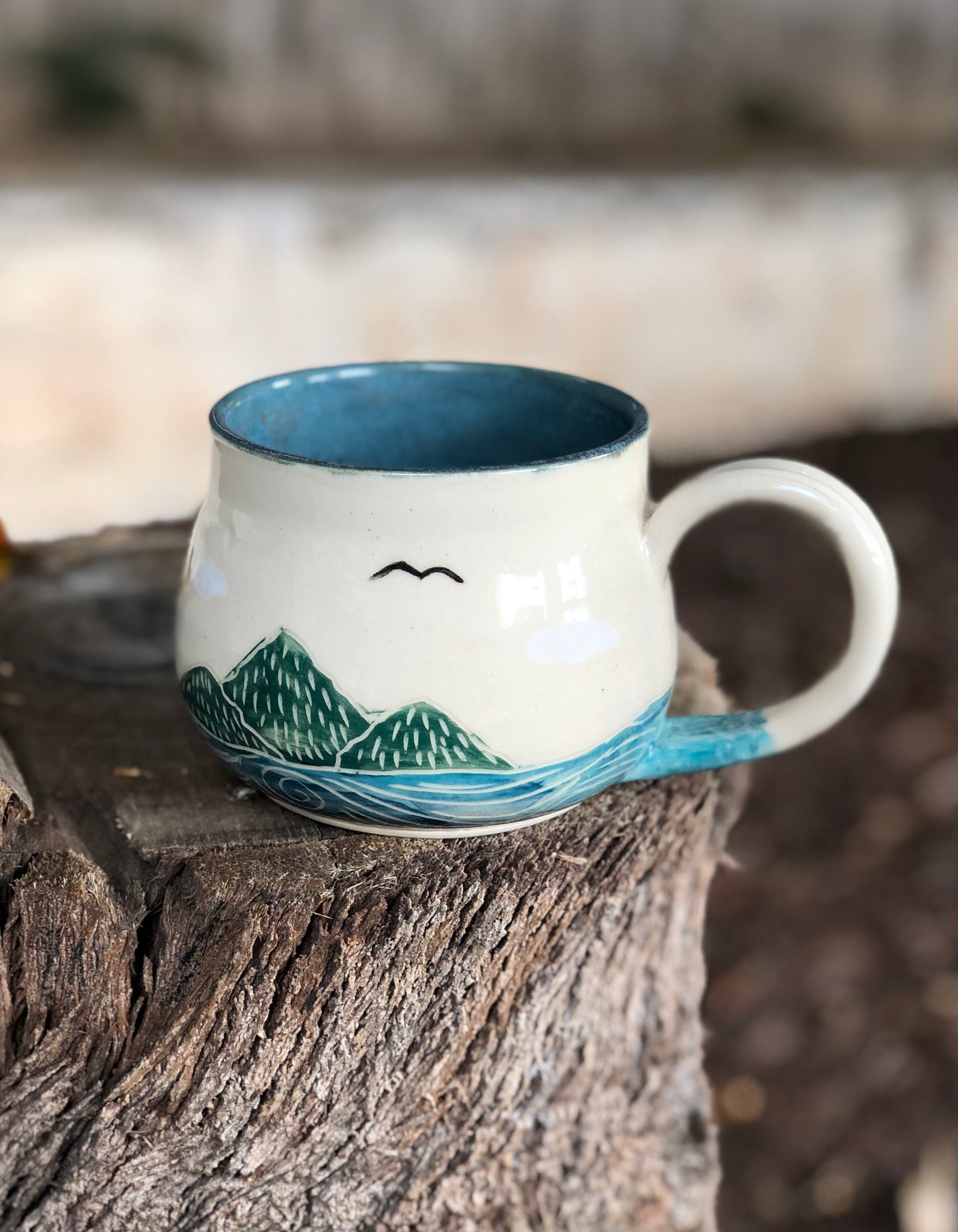 Ocean Series N 12 Handmade Ceramic Mug Hand Painted Sun And Ocean 12 Oz Hsiaowan Studios