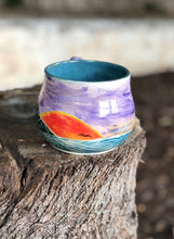 Load image into Gallery viewer, Series N°. 13 - Handmade Ceramic Mug with Hand-painted Hand carved Hawaii Sunset and Ocean - Hsiaowan Studios Handmade Ceramics Pottery