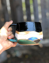 Load image into Gallery viewer, Watercolor Summer Hills Ceramic Mug - Drippy Black 12 oz - Hsiaowan Studios Handmade Ceramics Pottery