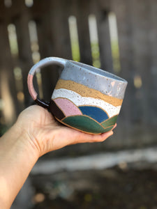 Watercolor Summer Hills Mug - Drippy Grey 12 oz - Hsiaowan Studios Handmade Ceramics Pottery