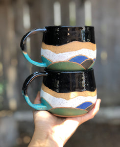 Watercolor Summer Hills Ceramic Mug - Drippy Black 12 oz - Hsiaowan Studios Handmade Ceramics Pottery