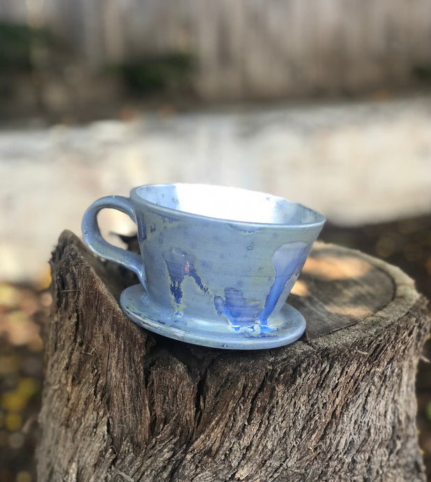 Blue Crystal Drippy Brush Strokes Ceramic Hand Pour Coffee Dripper - Hsiaowan Studios Handmade Ceramics Pottery