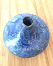 Load image into Gallery viewer, Handmade Ceramic Blue Flower Bud Vase on Marbled clay - Hsiaowan Studios - Hsiaowan Studios Handmade Ceramics Pottery