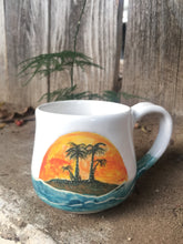 Load image into Gallery viewer, Ocean Series N°. 3 - Coffee Mug with Tropical island Ocean Waves, Sunset , blue whale mug - Hsiaowan Studios Handmade Ceramics Pottery