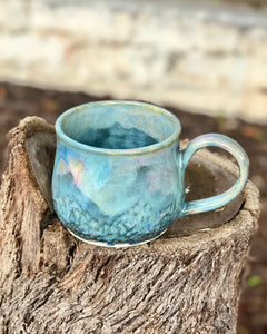 Blue Pink Opal Mug #3 - Dreamy Soft Multi Color Ceramic Mug 14 oz - Hsiaowan Studios Handmade Ceramics Pottery