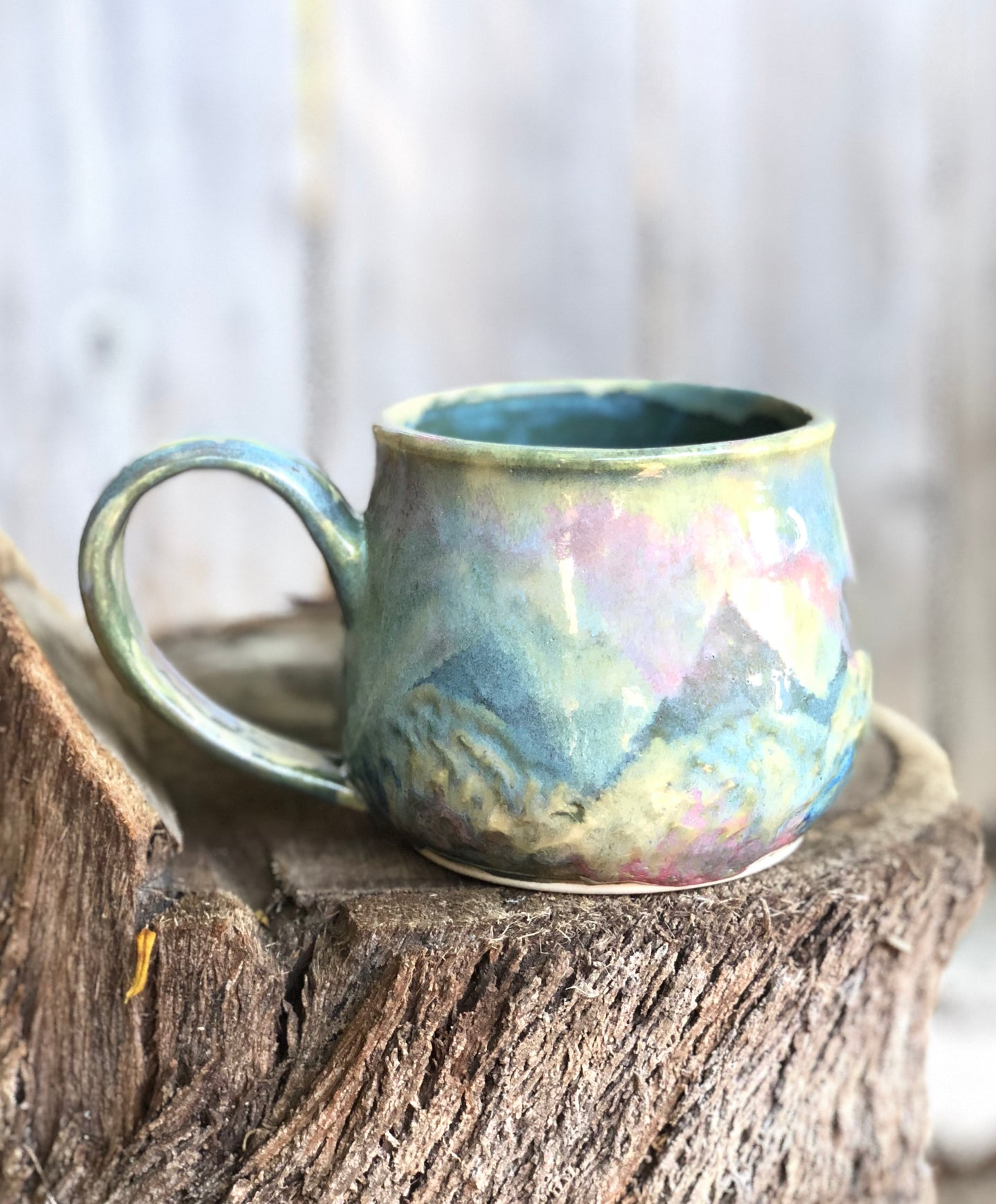 Opal Mug N° 2 - Dreamy Soft Multi Color Ceramic Mug 14 oz - Hsiaowan Studios Handmade Ceramics Pottery