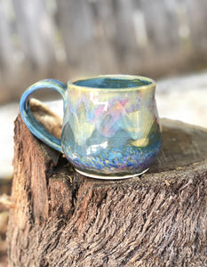 Pink Blue Opal Mug N°. 3 - Dreamy Soft Multi Color Ceramic Mug 11 oz - Hsiaowan Studios Handmade Ceramics Pottery