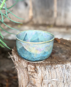 Blue Opal Bowl - Dreamy Soft blue and pink  14 oz - Hsiaowan Studios Handmade Ceramics Pottery