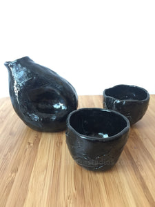 Handmade Textured Sake Bottle and cup Set - Hsiaowan Studios Handmade Ceramics Pottery