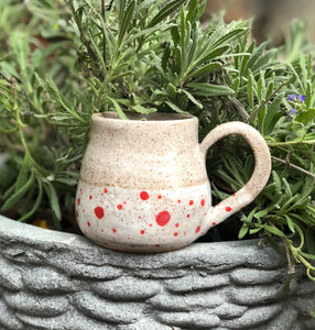 Handmade Ceramic Red Polka Dot Coffee Mug 10 oz - Hsiaowan Studios Handmade Ceramics Pottery