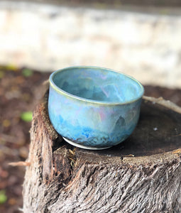 Blue Opal Bowl - Dreamy Soft blue and pink  15oz - Hsiaowan Studios Handmade Ceramics Pottery