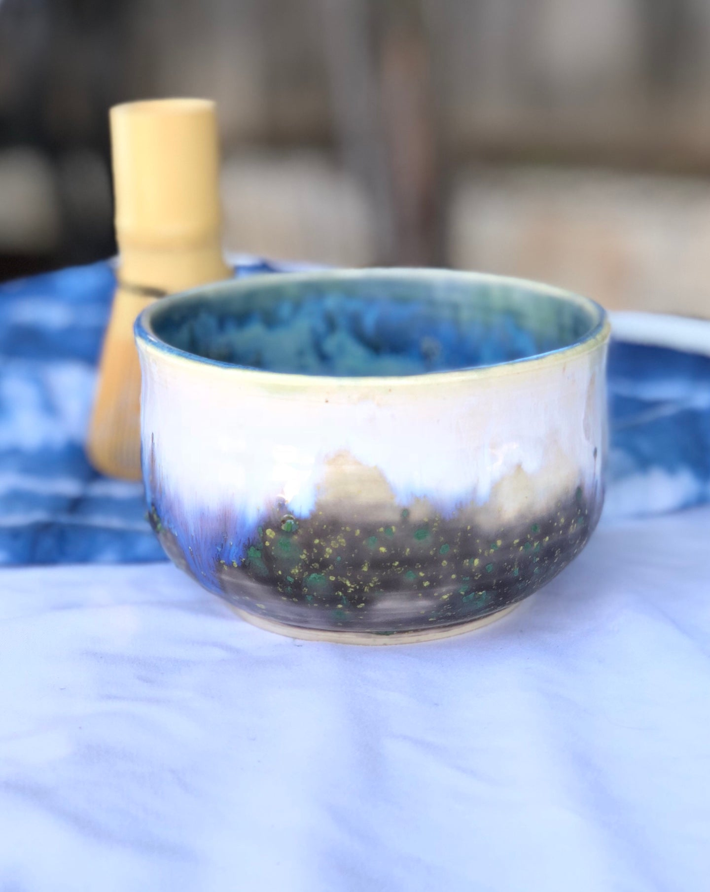 Cloudy Forest - Chawan Matcha Tea bowl  & Indigo Shibori Tea towel set 12 oz - Hsiaowan Studios Handmade Ceramics Pottery