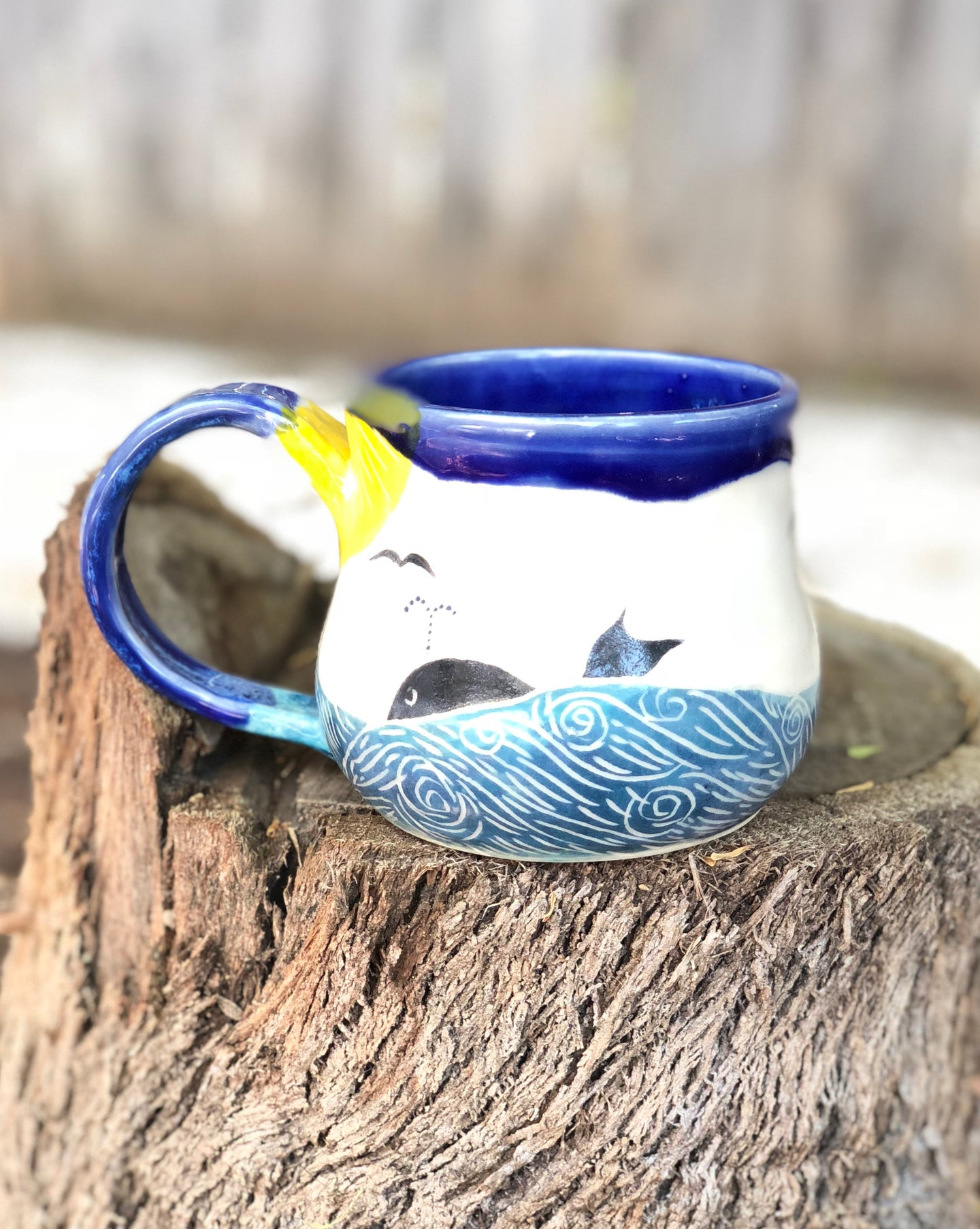 Ocean Series N°. 11 - Handmade Ceramic Mug with Hand-painted  & carved Whale and ocean - Hsiaowan Studios Handmade Ceramics Pottery