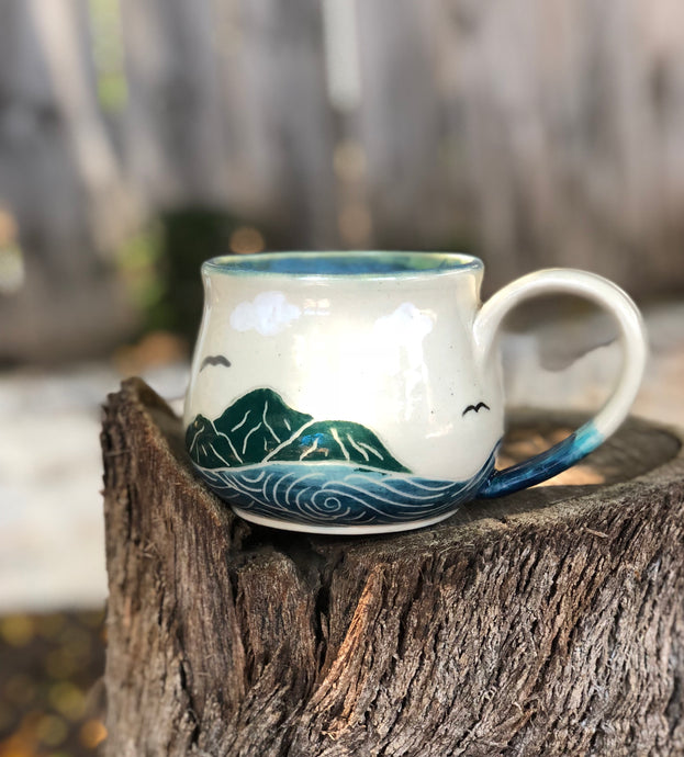 Ocean Series N°. 15 - Handmade Ceramic Mug with Hand-painted Hand carved Sun and Ocean 14 oz - Hsiaowan Studios Handmade Ceramics Pottery