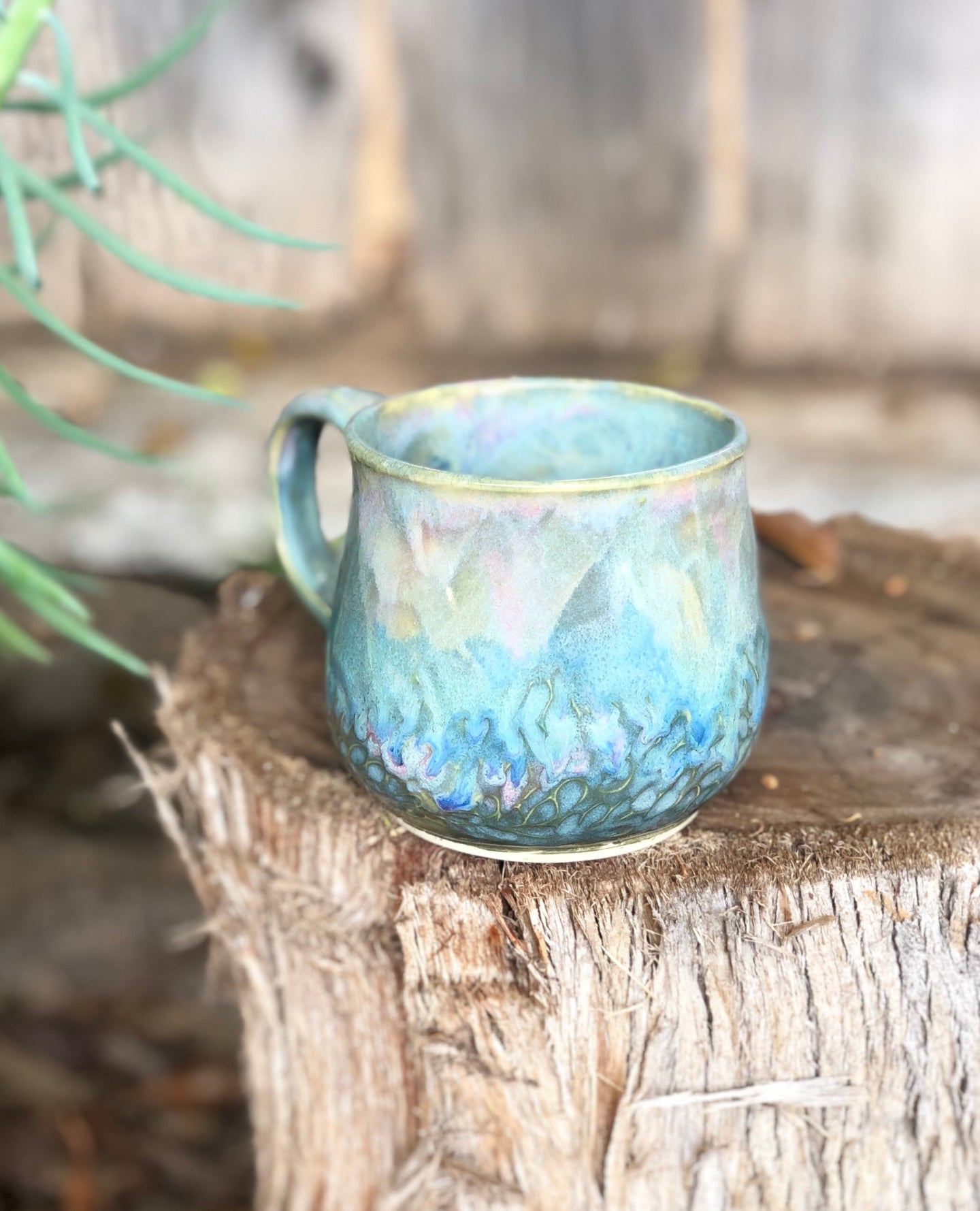 Pink Blue Opal Mug  - Dreamy Soft Multi Color Ceramic Mug 12 oz - Hsiaowan Studios Handmade Ceramics Pottery