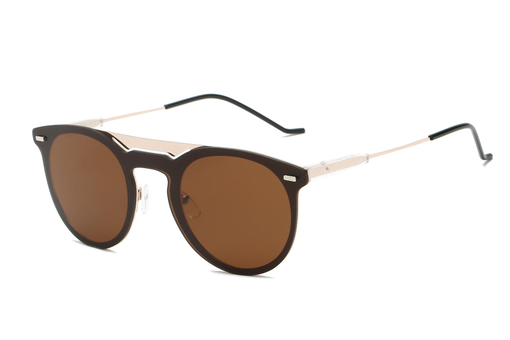 Designer Brown Mirrored Sunglasses - Unisex